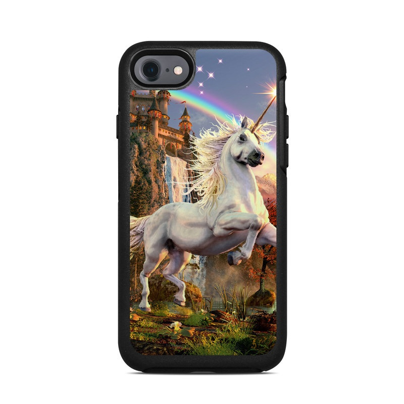 OtterBox Symmetry iPhone 8 Case Skin design of Nature, Unicorn, Fictional character, Sky, Mythical creature, Mythology, Cg artwork, Horse, Mane, Wildlife with black, gray, red, green, blue colors