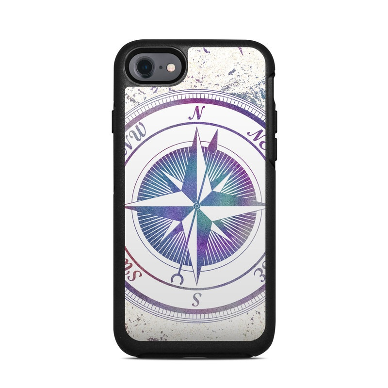 OtterBox Symmetry iPhone 8 Case Skin design of Clock, Circle, Compass, Graphics, Pattern, Illustration, Interior design with gray, white, yellow, pink, purple, blue colors