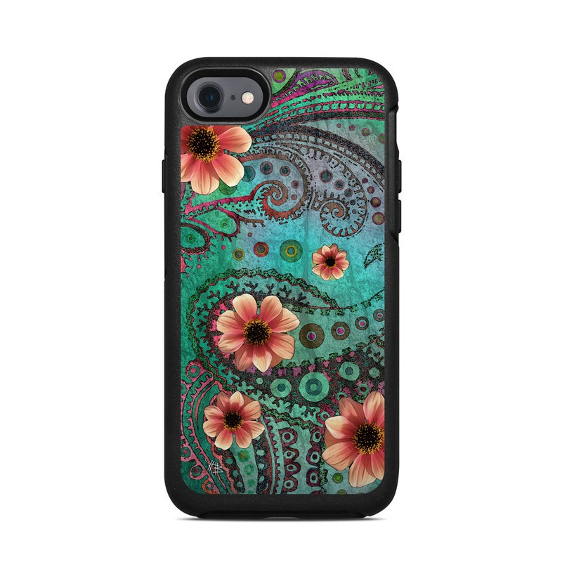 OtterBox Symmetry iPhone 8 Case Skin design of Pink, Flower, Green, Petal, Floral design, Pattern, Plant, Wildflower, Botany, Gazania with black, red, blue, gray, green, pink colors