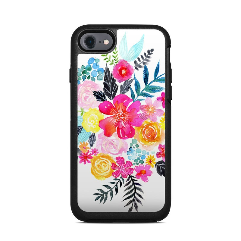 OtterBox Symmetry iPhone 8 Case Skin design of Flower, Clip art, Bouquet, Plant, Illustration, Floral design, Pink, Petal, Botany, Design with white, pink, orange, red, yellow, blue, black, green colors