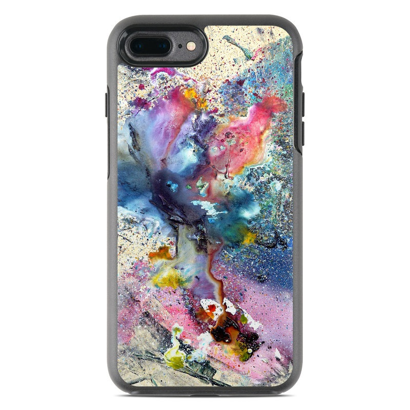OtterBox Symmetry iPhone 8 Plus Case Skin design of Watercolor paint, Painting, Acrylic paint, Art, Modern art, Paint, Visual arts, Space, Colorfulness, Illustration with gray, black, blue, red, pink colors