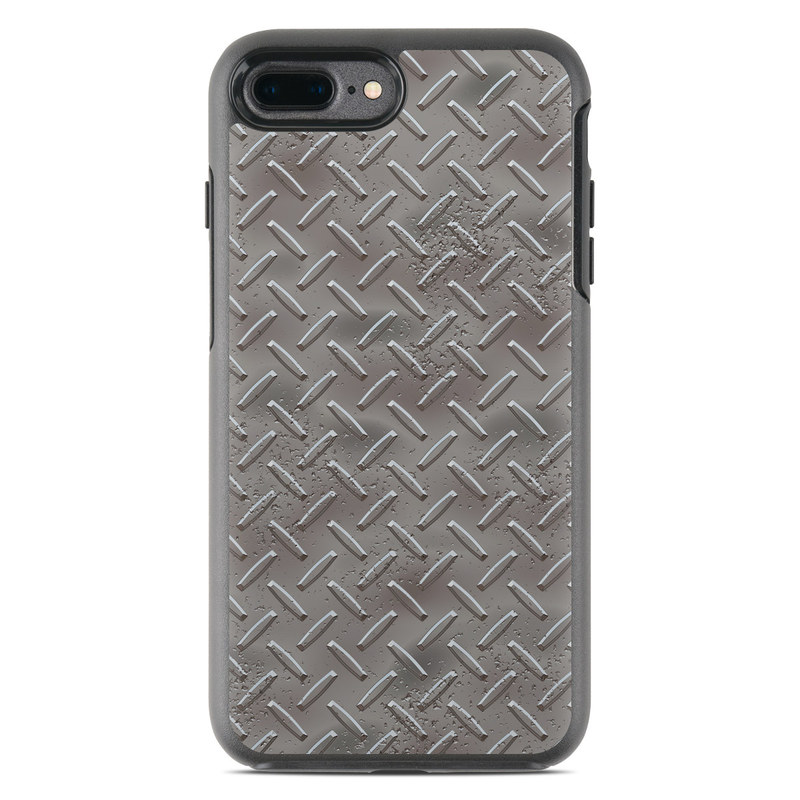 OtterBox Symmetry iPhone 8 Plus Case Skin design of Font, Text, Metal, Pattern, Design, Number, Steel with gray colors