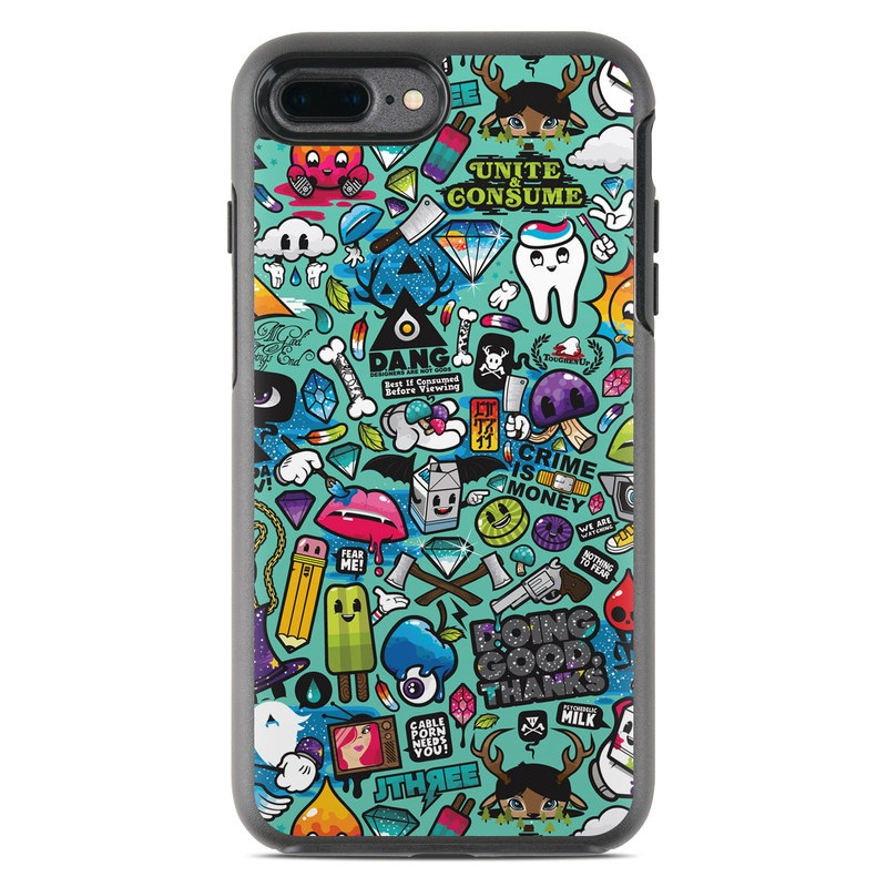 OtterBox Symmetry iPhone 8 Plus Case Skin design of Cartoon, Art, Pattern, Design, Illustration, Visual arts, Doodle, Psychedelic art with black, blue, gray, red, green colors