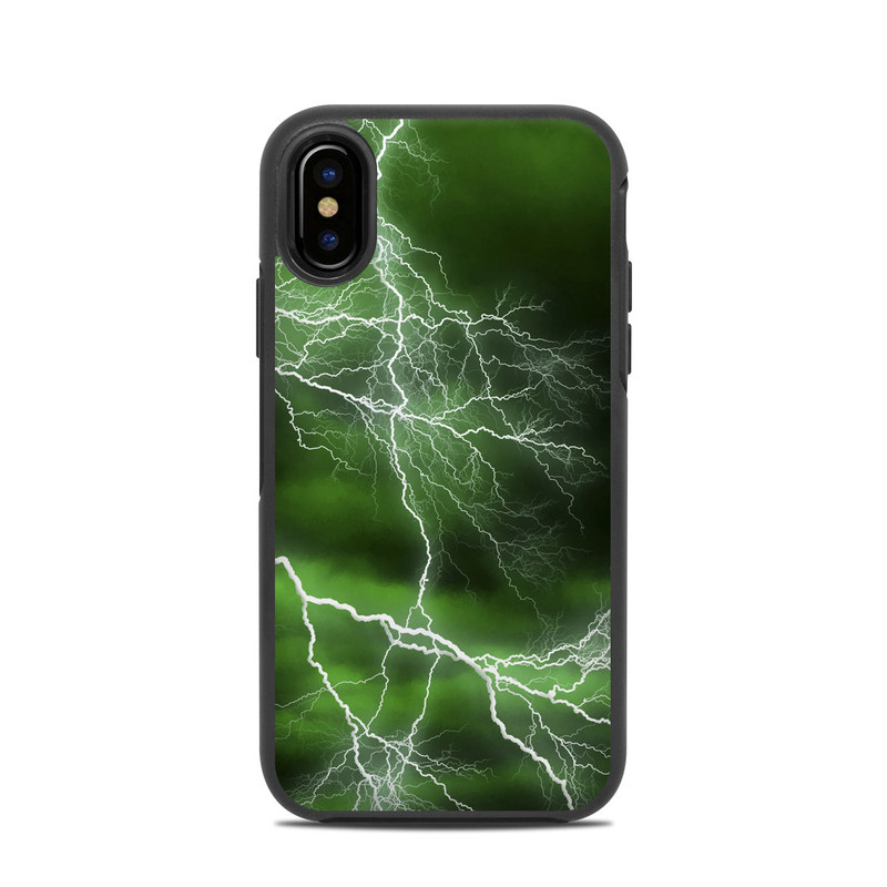 OtterBox Symmetry iPhone X Case Skin design of Thunderstorm, Thunder, Lightning, Nature, Green, Water, Sky, Atmosphere, Atmospheric phenomenon, Daytime with green, black, white colors
