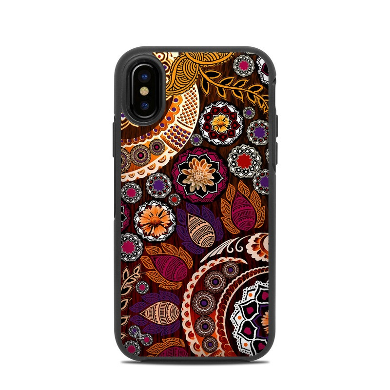 OtterBox Symmetry iPhone X Case Skin design of Pattern, Motif, Visual arts, Design, Art, Floral design, Textile, Paisley, Tapestry, Circle with brown, purple, red, white, black colors