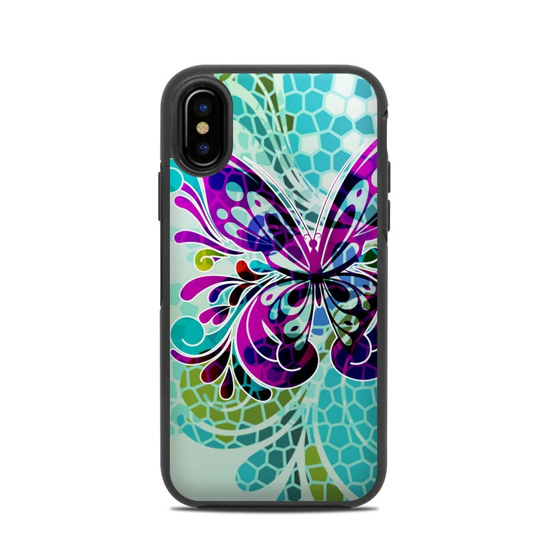 OtterBox Symmetry iPhone X Case Skin design of Butterfly, Pattern, Insect, Moths and butterflies, Purple, Graphic design, Design, Pollinator, Visual arts, Magenta with blue, green, purple colors