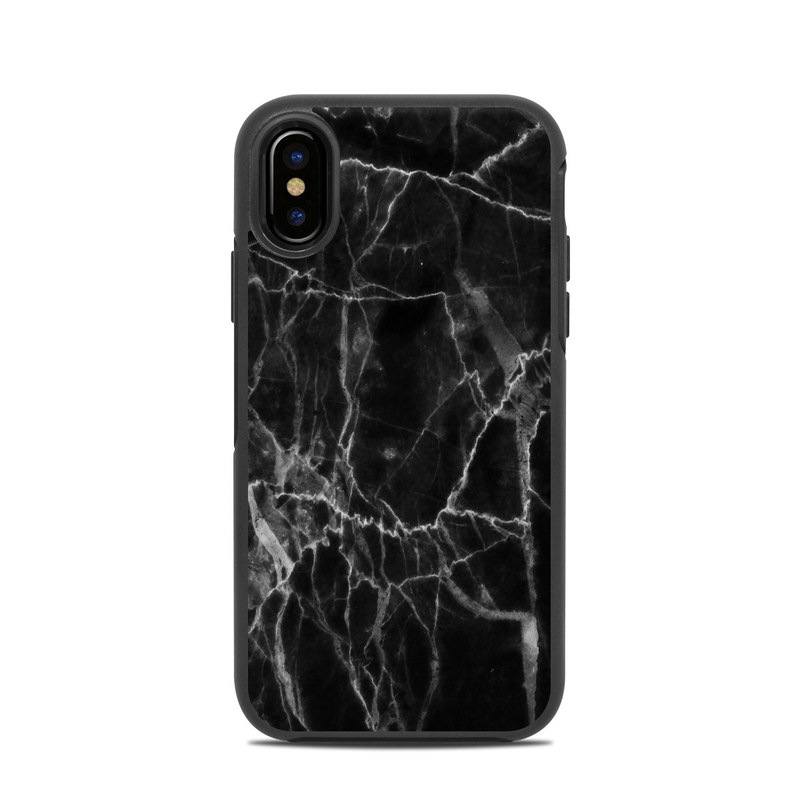low priced dac46 c03ea Black Marble OtterBox Symmetry iPhone X Case Skin