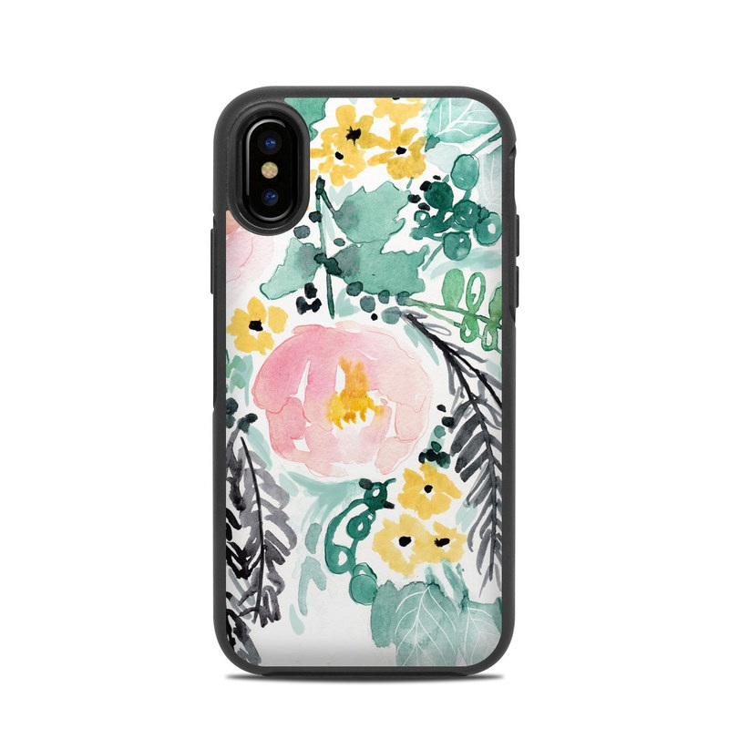 OtterBox Symmetry iPhone X Case Skin design of Branch, Clip art, Watercolor paint, Flower, Leaf, Botany, Plant, Illustration, Design, Graphics with green, pink, red, orange, yellow colors