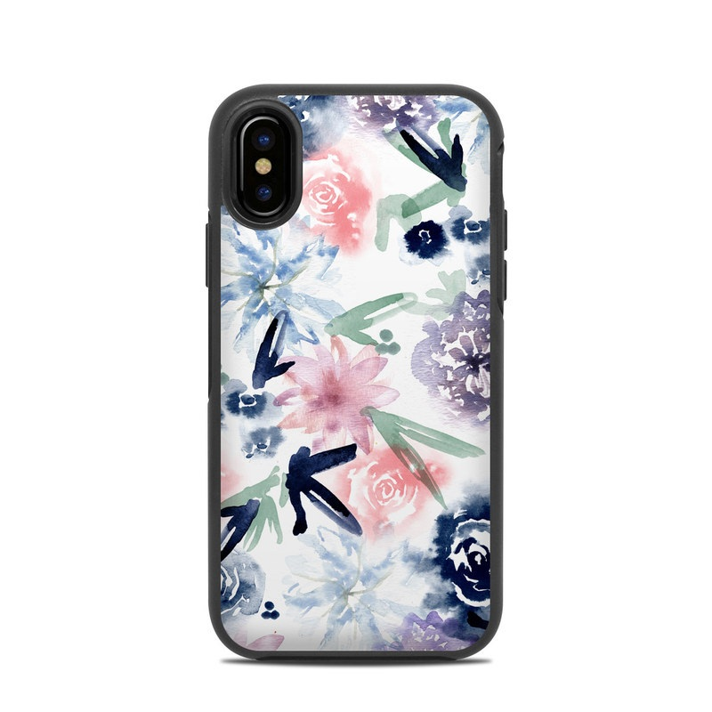 OtterBox Symmetry iPhone X Case Skin design of Pattern, Graphic design, Design, Floral design, Plant, Flower, Illustration with white, blue, purple, green, pink colors