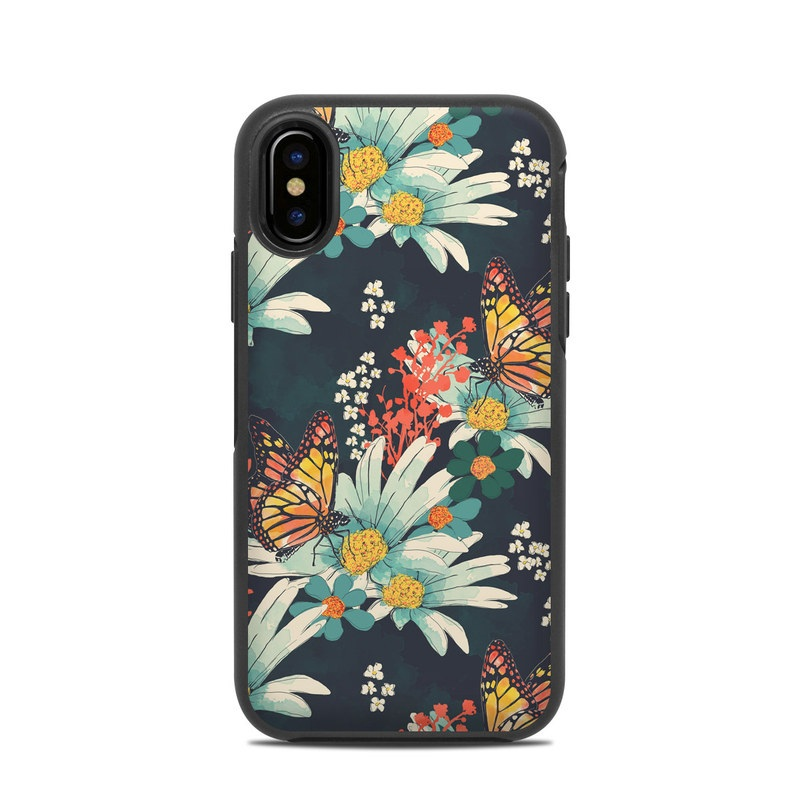 OtterBox Symmetry iPhone X Case Skin design of Floral design, Pattern, Flower, Floristry, Textile, Botany, Plant, Visual arts, Design, Flower Arranging with black, gray, green, red, blue, pink colors