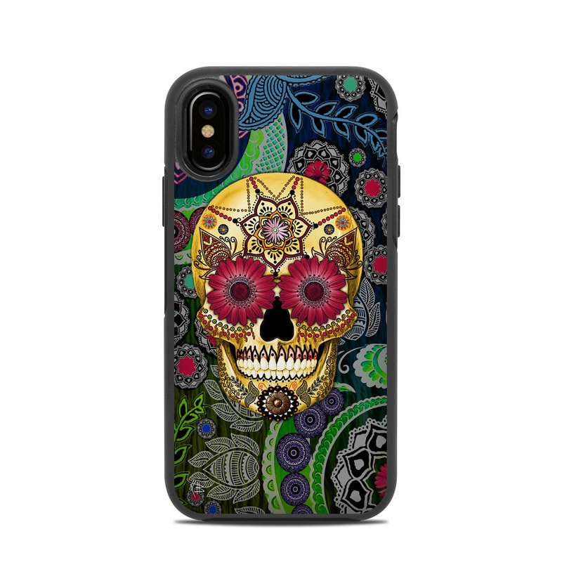 OtterBox Symmetry iPhone X Case Skin design of Skull, Bone, Pattern, Psychedelic art, Visual arts, Design, Illustration, Art, Textile, Plant with black, red, gray, green, blue colors