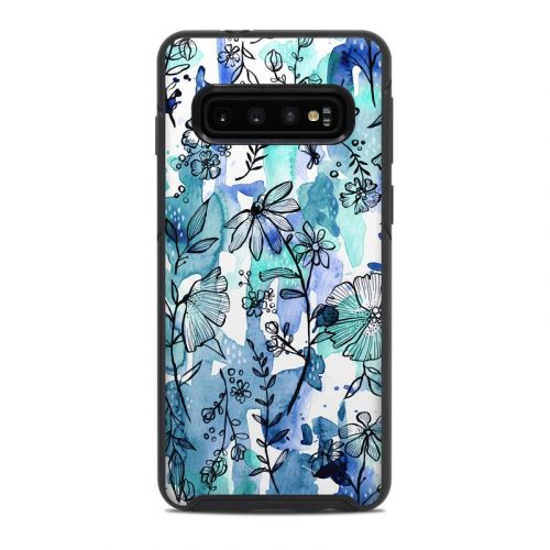 Blue Ink Floral OtterBox Symmetry Galaxy S10 Case Skin