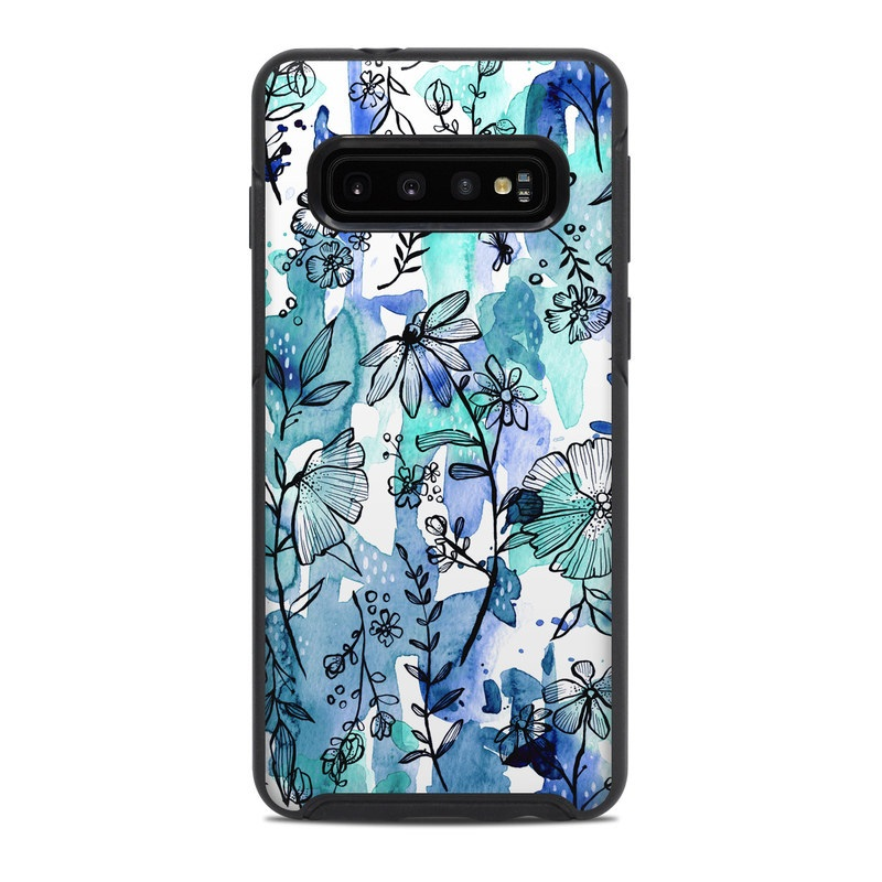 OtterBox Symmetry Galaxy S10 Case Skin design of Blue, Pattern, Turquoise, Aqua, Design, Textile, Wildflower, Plant, Wrapping paper, Gift wrapping with blue, white, black, purple colors