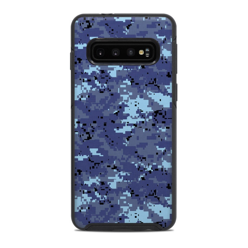 OtterBox Symmetry Galaxy S10 Case Skin design of Blue, Purple, Pattern, Lavender, Violet, Design with blue, gray, black colors