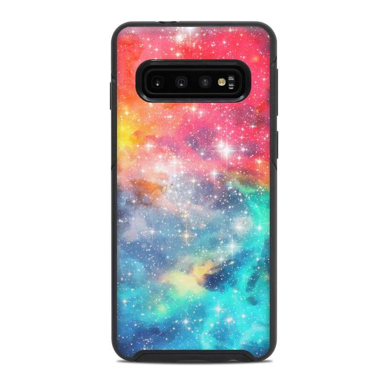 OtterBox Symmetry Galaxy S10 Case Skin design of Nebula, Sky, Astronomical object, Outer space, Atmosphere, Universe, Space, Galaxy, Celestial event, Star with white, black, red, orange, yellow, blue colors