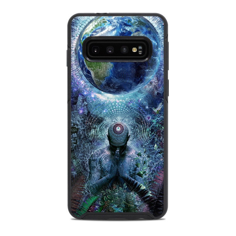 OtterBox Symmetry Galaxy S10 Case Skin design of Psychedelic art, Fractal art, Art, Space, Organism, Earth, Sphere, Graphic design, Circle, Graphics with blue, green, gray, purple, pink, black, white colors