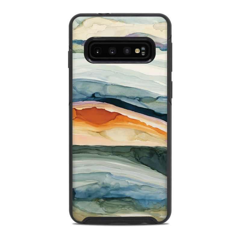 OtterBox Symmetry Galaxy S10 Case Skin design of Watercolor paint, Painting, Sky, Wave, Geology, Landscape, Pattern, Acrylic paint, Cloud, Paint with blue, purple, orange, yellow, red, green, brown colors