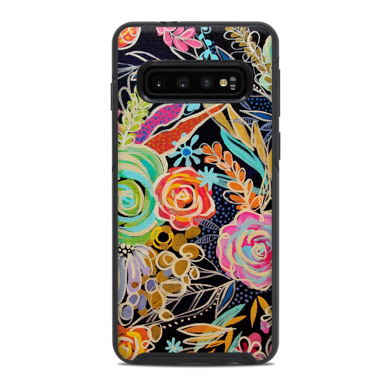 OtterBox Symmetry Galaxy S10 Case Skin design of Pattern, Floral design, Design, Textile, Visual arts, Art, Graphic design, Psychedelic art, Plant with black, gray, green, red, blue colors