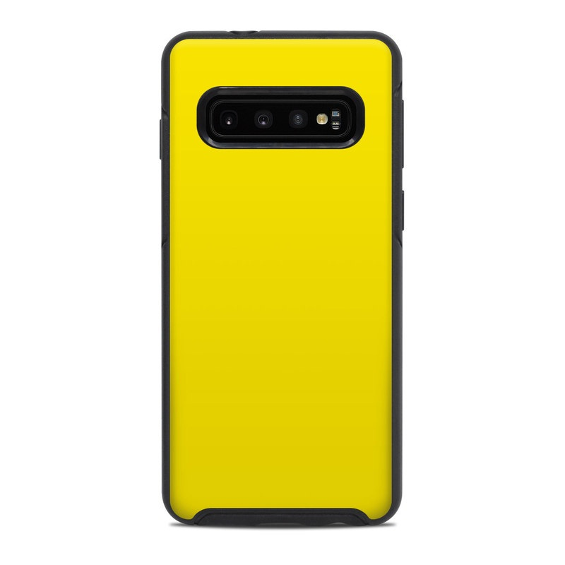 OtterBox Symmetry Galaxy S10 Case Skin design of Green, Yellow, Orange, Text, Font with yellow colors