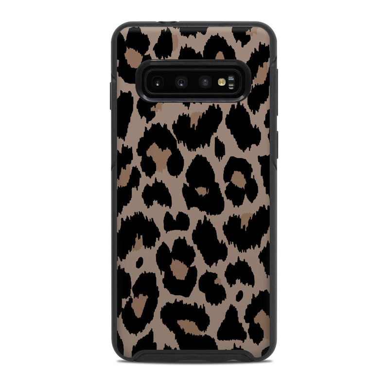 OtterBox Symmetry Galaxy S10 Case Skin design of Pattern, Brown, Fur, Design, Textile, Monochrome, Fawn with black, gray, red, green colors