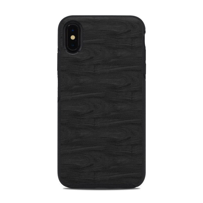 OtterBox Symmetry iPhone XS Max Case Skin design of Black, Brown, Wood, Grey, Flooring, Floor, Laminate flooring, Wood flooring with black colors