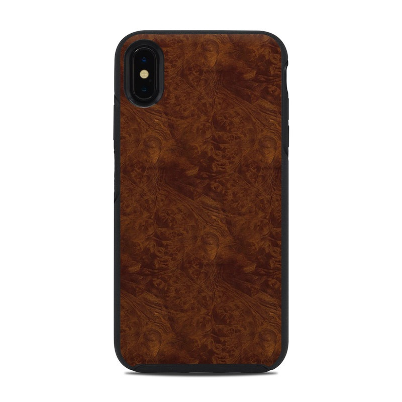 OtterBox Symmetry iPhone XS Max Case Skin design of Brown, Wood, Wood flooring, Caramel color, Pattern, Hardwood, Wood stain, Flooring, Floor, Plywood with brown colors