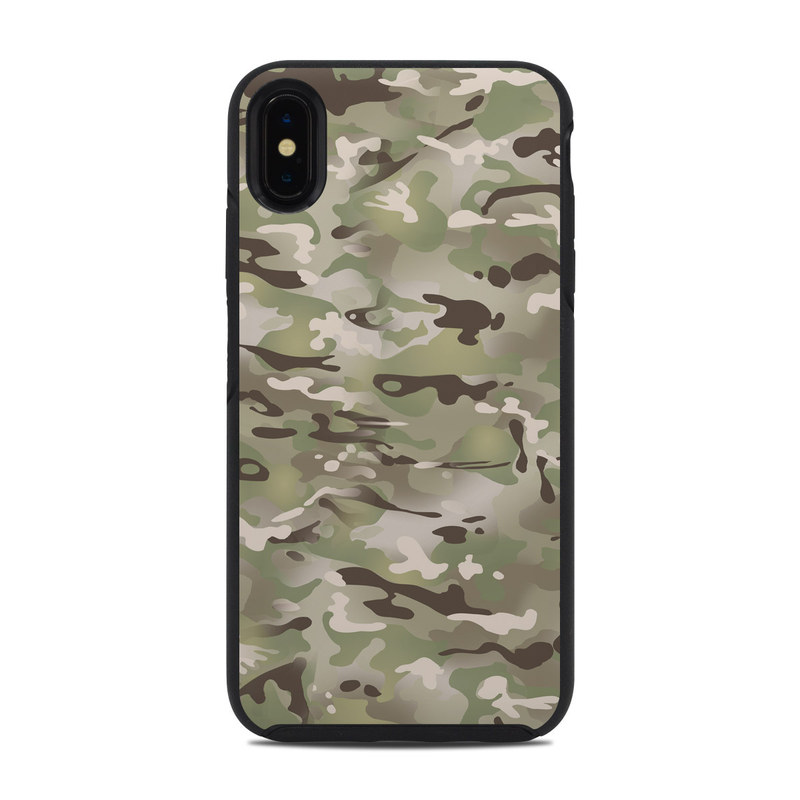 OtterBox Symmetry iPhone XS Max Case Skin design of Military camouflage, Camouflage, Pattern, Clothing, Uniform, Design, Military uniform, Bed sheet with gray, green, black, red colors