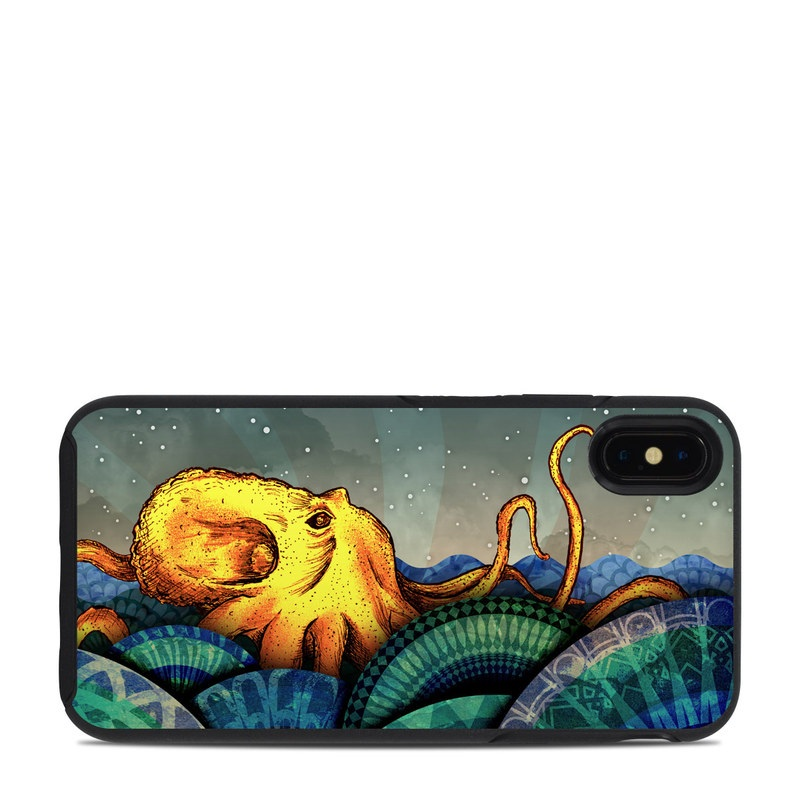 OtterBox Symmetry iPhone XS Max Case Skin design of Illustration, Fractal art, Art, Cg artwork, Sky, Organism, Psychedelic art, Graphic design, Graphics, Octopus with black, gray, blue, green, red colors