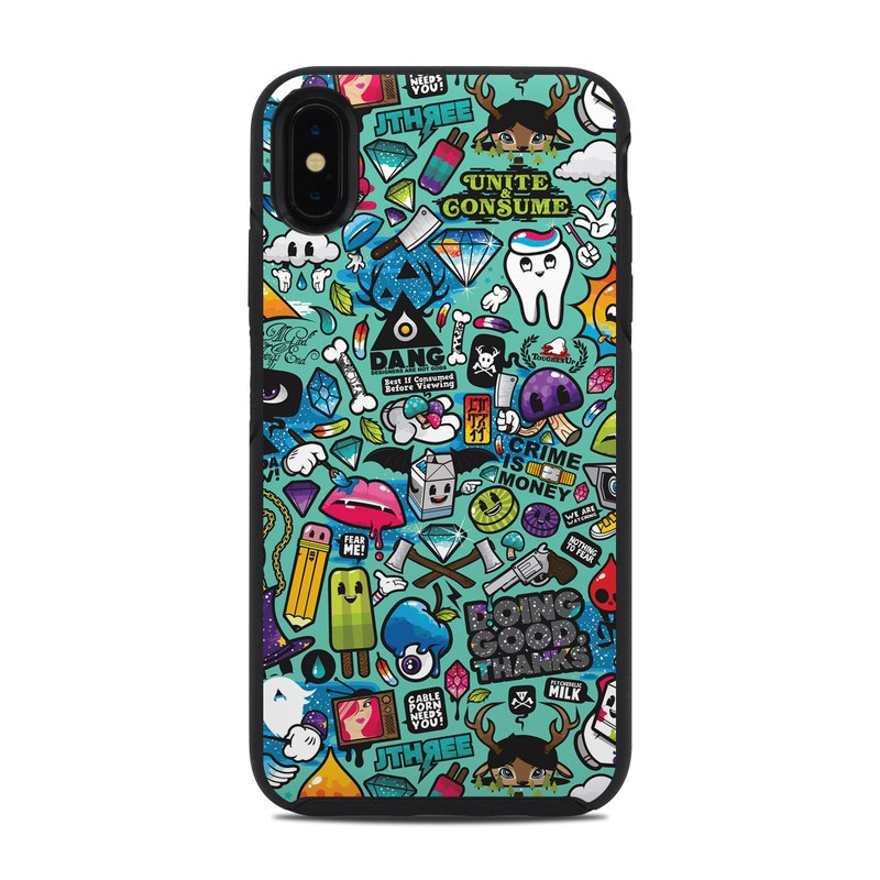 OtterBox Symmetry iPhone XS Max Case Skin design of Cartoon, Art, Pattern, Design, Illustration, Visual arts, Doodle, Psychedelic art with black, blue, gray, red, green colors