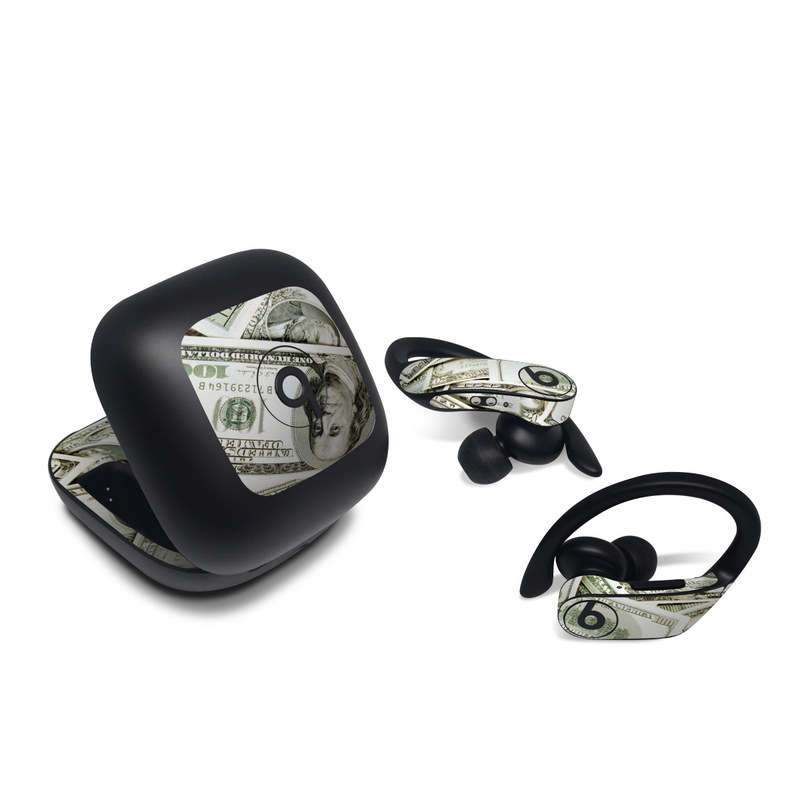 Beats Powerbeats Pro Skin design of Money, Cash, Currency, Banknote, Dollar, Saving, Money handling, Paper, Stock photography, Paper product with green, white, black, gray colors