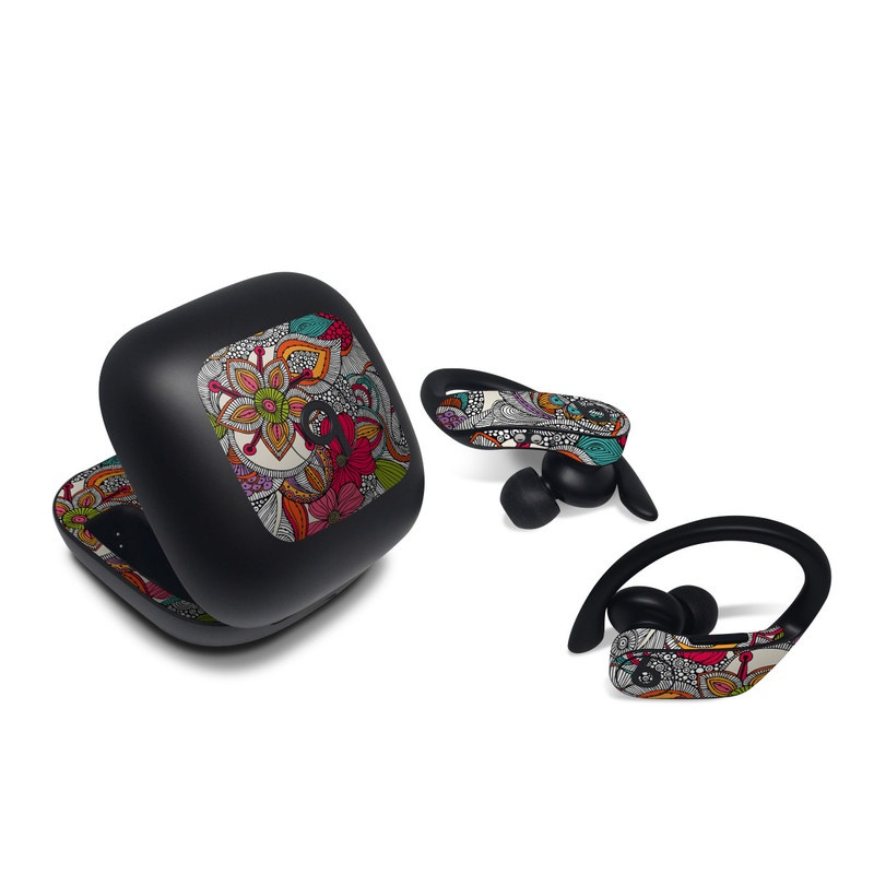 Beats Powerbeats Pro Skin design of Pattern, Drawing, Visual arts, Art, Design, Doodle, Floral design, Motif, Illustration, Textile with gray, red, black, green, purple, blue colors