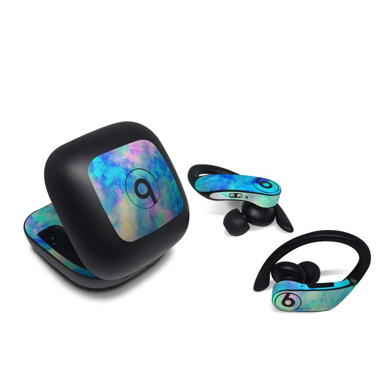 Beats Powerbeats Pro Skin design of Blue, Turquoise, Aqua, Pattern, Dye, Design, Sky, Electric blue, Art, Watercolor paint with blue, purple colors
