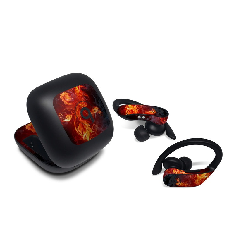 Beats Powerbeats Pro Skin design of Flame, Fire, Heat, Red, Orange, Fractal art, Graphic design, Geological phenomenon, Design, Organism with black, red, orange colors