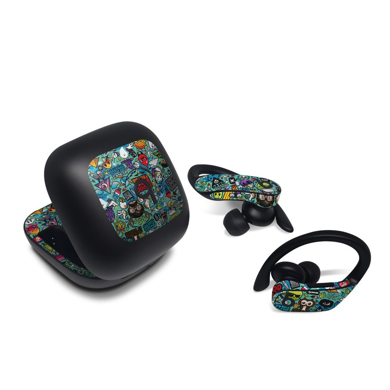 Beats Powerbeats Pro Skin design of Cartoon, Art, Pattern, Design, Illustration, Visual arts, Doodle, Psychedelic art with black, blue, gray, red, green colors