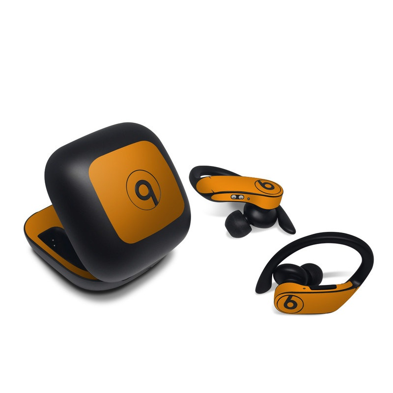 Beats Powerbeats Pro Skin design of Orange, Yellow, Brown, Text, Amber, Font, Peach with orange colors