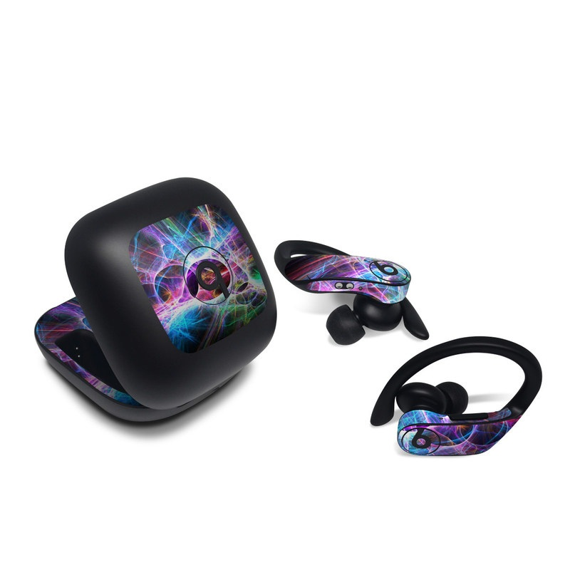 Beats Powerbeats Pro Skin design of Fractal art, Light, Pattern, Purple, Graphic design, Design, Colorfulness, Electric blue, Art, Neon with black, gray, blue, purple colors