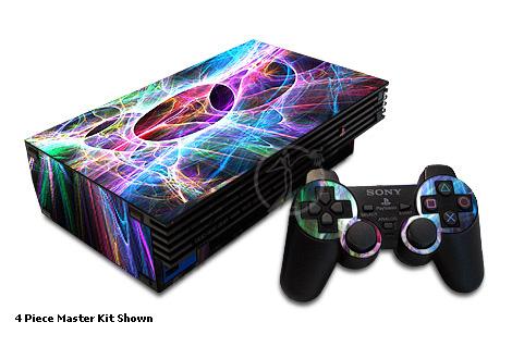 Older PS2 Skin design of Fractal art, Light, Pattern, Purple, Graphic design, Design, Colorfulness, Electric blue, Art, Neon with black, gray, blue, purple colors