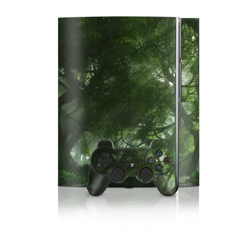 Old PS3 Skin design of Nature, Tree, Natural landscape, Green, Natural environment, Old-growth forest, Vegetation, Forest, Jungle, Nature reserve with green, black colors