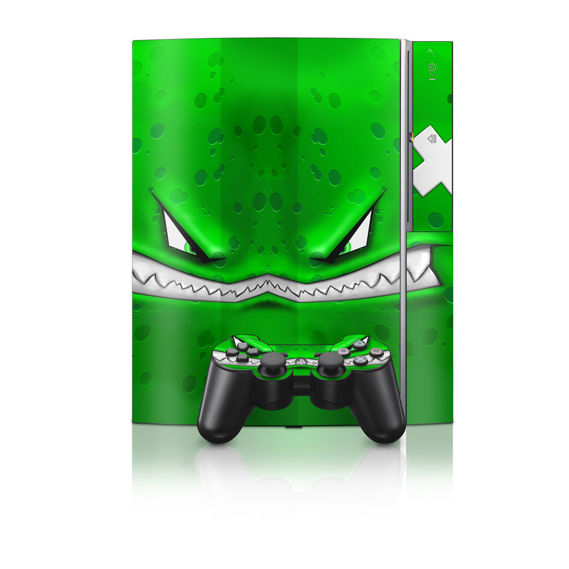 Old PS3 Skin design of Green, Font, Animation, Logo, Graphics, Games with green, white colors