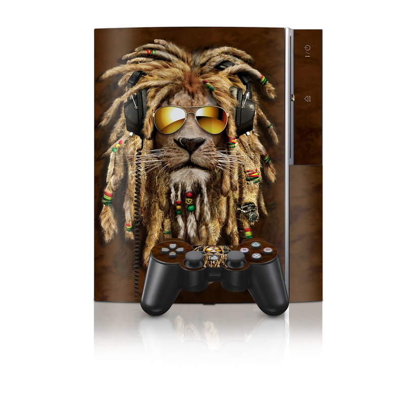 Old PS3 Skin design of Hair, Fur, Dreadlocks, Snout, Organism, Glasses, Whiskers, Mask, Wildlife, Fictional character with black, green, red, gray colors