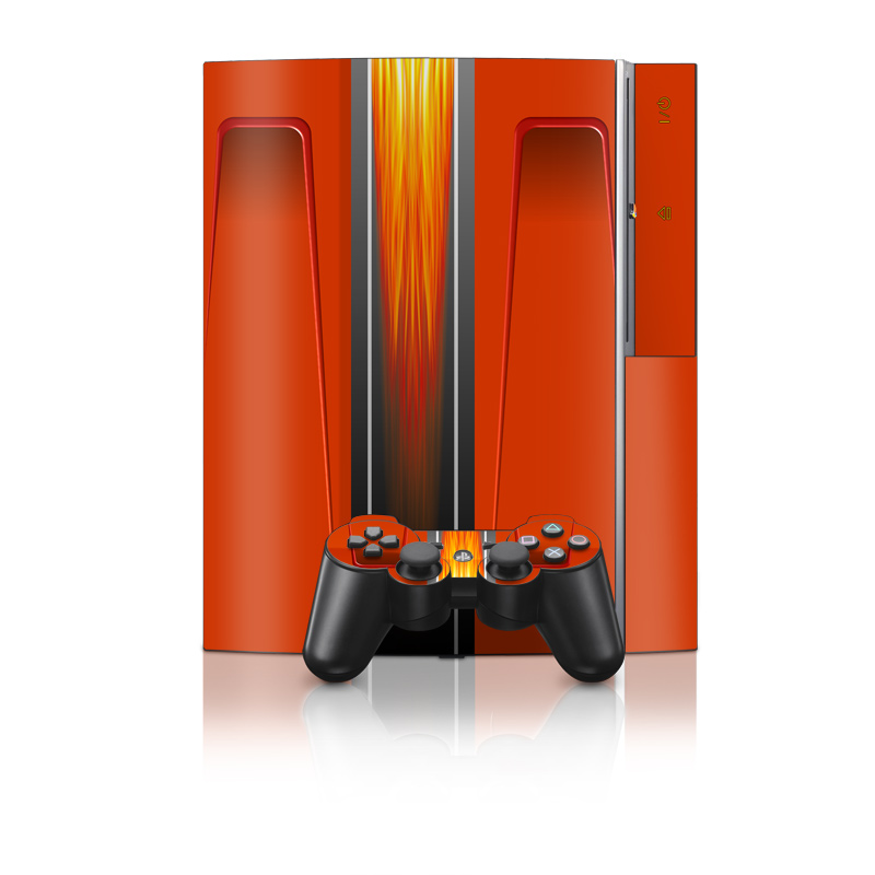 Old PS3 Skin design of Orange, Red, Line, Material property, Rectangle, Automotive lighting with red, black, orange, gray colors