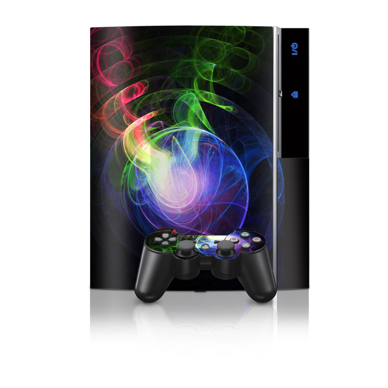 Old PS3 Skin design of Light, Blue, Graphic design, Fractal art, Colorfulness, Electric blue, Neon, Circle, Design, Technology with black, blue, green, red, purple colors