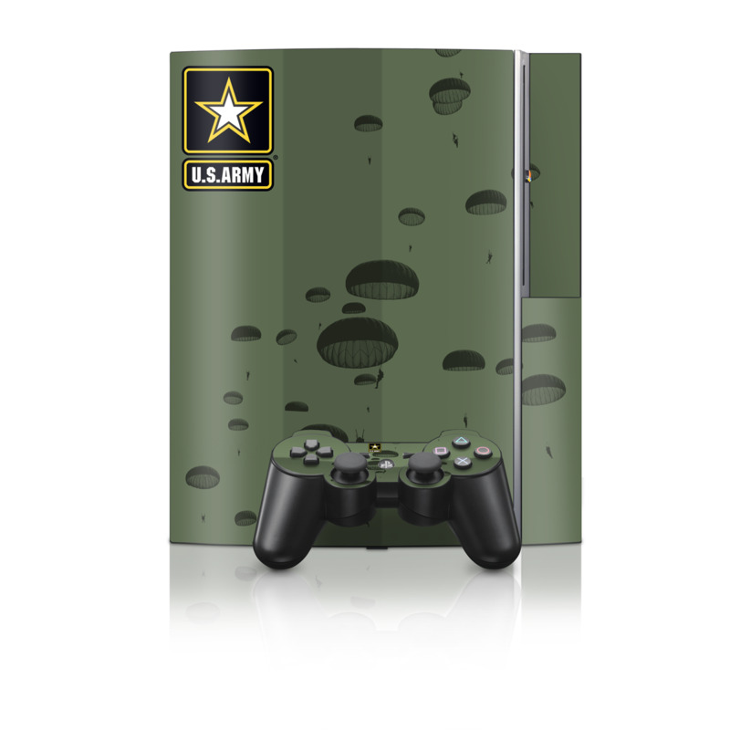 Old PS3 Skin design of Text, Organism, Design, Paratrooper, Pattern, Font, Illustration, Art with black colors