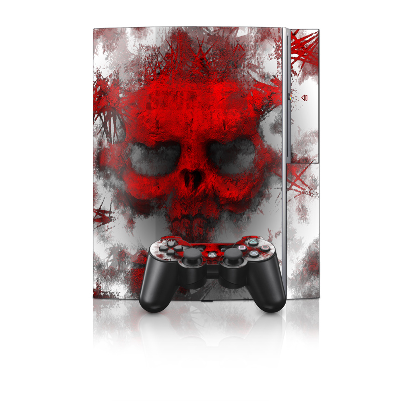 Old PS3 Skin design of Red, Graphic design, Skull, Illustration, Bone, Graphics, Art, Fictional character with red, gray, black, white colors