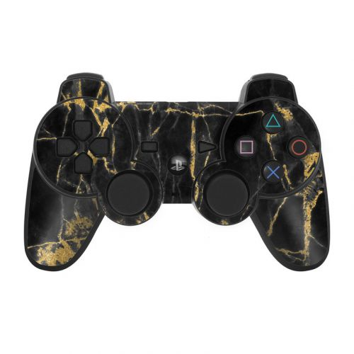 Black Gold Marble PS3 Controller Skin
