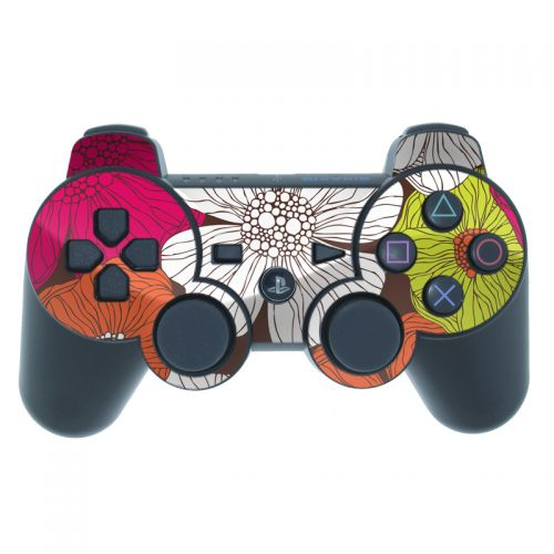 Brown Flowers PS3 Controller Skin
