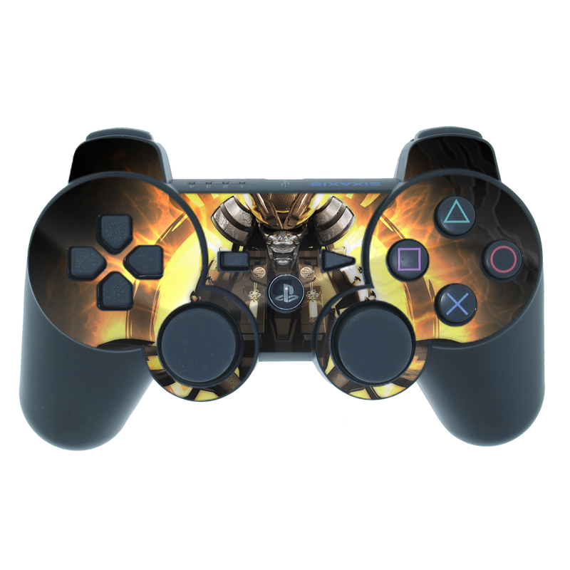 PS3 Controller Skin design of Cg artwork, Graphic design, Fictional character, Mecha, Illustration, Darkness, Action figure, Samurai, Games, Graphics with black, yellow, orange, gray colors