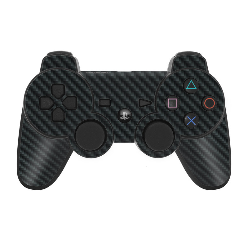 PS3 Controller Skin design of Green, Black, Blue, Pattern, Turquoise, Carbon, Textile, Metal, Mesh, Woven fabric with black colors