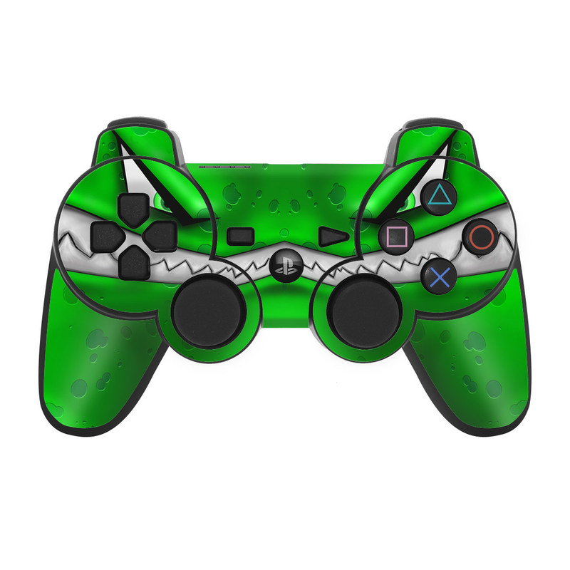 PS3 Controller Skin design of Green, Font, Animation, Logo, Graphics, Games with green, white colors