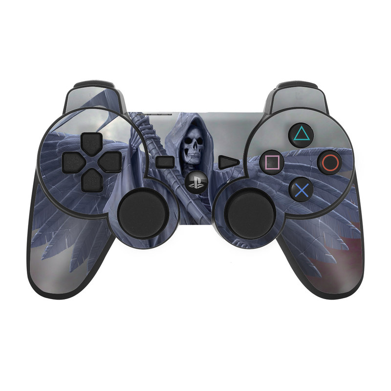 PS3 Controller Skin design of Wing, Fictional character, Supernatural creature, Cg artwork, Angel, Mythical creature, Illustration, Dragon with black, gray, blue colors